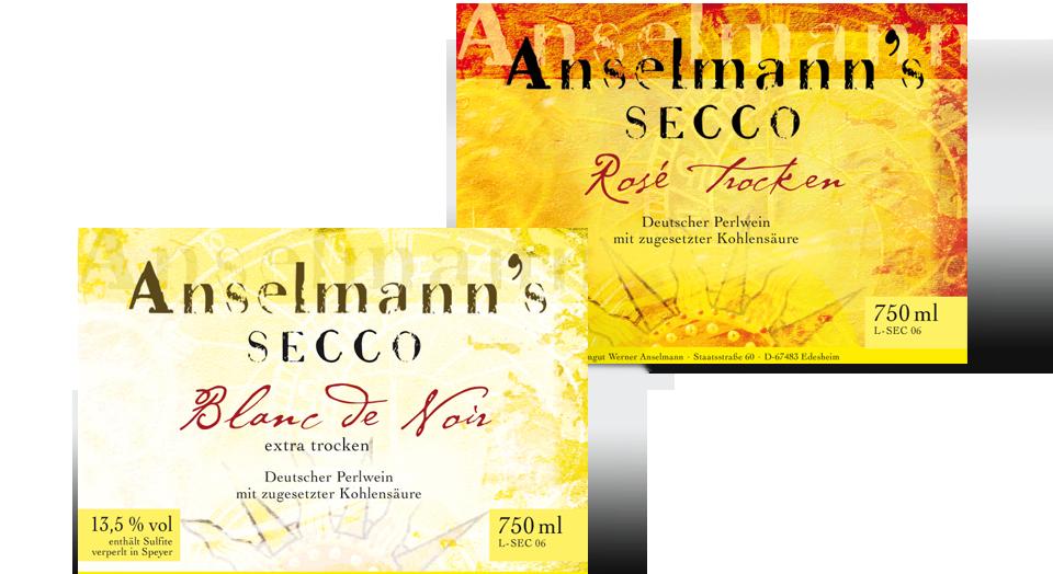 Anselmann's Secco, Design Weinetikett